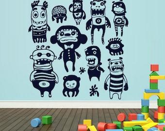 rvz1683 Wall Decal Vinyl Sticker Kids Set Monsters Nursery Playing Room Game Play