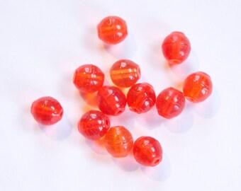 Vintage Translucent Orange German Glass Beads 7mm grm045C