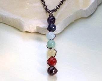 Chakra Gemstone Necklace, Copper Necklace, Chakra Crystal Pendant, Rainbow Necklace, Bohemian, Chakra Wand Pendant, Rainbow Gemstones