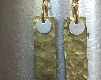 LYNN.  Brass and sterling handmade earrings.