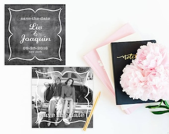Square Save The Date Cards / Photo Cards / Chalkboard Save The Dates / PRINTED 6x6 Sq Save-The-Date Cards in Black and White