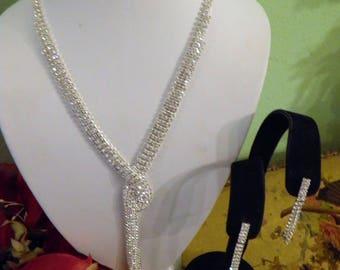 Brilliant Rhinestone Necklace and EarringSet, Old Hollyywood Glam.