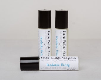 Aromatherapy Headache Roll On, made with essential oils, by green bubble gorgeous on etsy