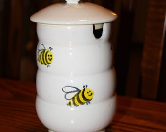 Ceramic Hand Turned and Hand-Painted Honey Pot