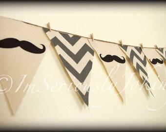 Mustache Banner -Little Man Party Banner- Gray Chevron banner-Little Man Party-Mustache Party-Baby Shower-Baby Shower Banner-Little Man