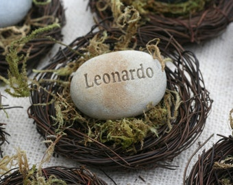The Pebble Nest - personalized name, word or date - engraved gift in nest by sjEngraving