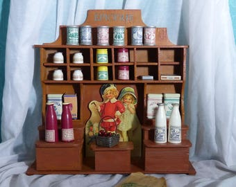 Vintage French Toy Epicierie - French Vintage Doll's Grocery Store - French Toy Shop with Moulin Roty Accessories - Vintage French Toy Store