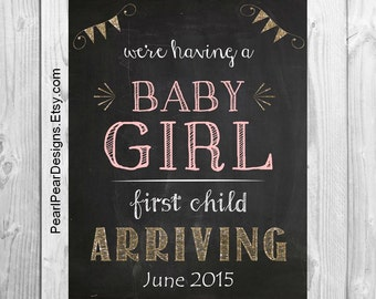 It's a Girl: we're having a baby girl or boy first child arriving Chalkboard Printable File- Pregnancy announcement
