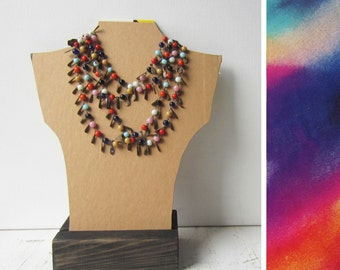 SALE One Necklace Bust Reversible - Kraft Brown / Watercolor - Recycled Book Cover
