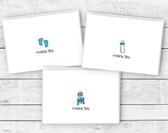 Baby Thank You Cards Collection - 24 Cards & Envelopes