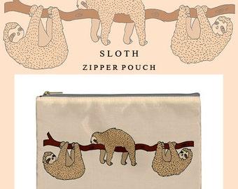 Sloth bag,sloth,makeup bag,bag,zipper pouch,pencil case,cute,cute makeup bag,illustration