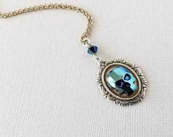 Blue Swarovski Skull Pendant, Crystal Skull Necklace, Skull Jewelry, Skull Cameo, Gothic Cameo, Gothic Pendant, Gothic Necklace, Punk Skull