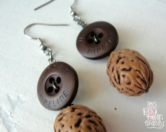 Earrings - button and kernel