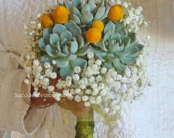 Triple succulent bouquet - Wedding succulent bouquet, Bridesmaidbouquet