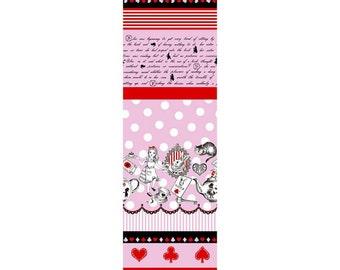 Judie's Cotton Alice in Wonderland - Alice Panel Border fabric Dots Stripes L36-20 pink, Lecien of Japan, 1 yard