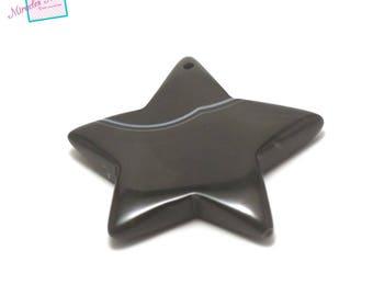 "1 pendant/bead black agate ""50 x 50 x 7 mm Star"", natural stone"