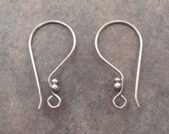 2 Bali Sterling Silver Oxidized Earwires with Ball 22 x 12mm Low Shipping