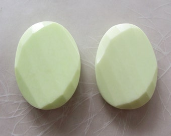 Lemon Chrysoprase Stone Very Large Faceted Twisted Puffed Oval Focal Beads ~ 30x40mm ~ 2 Pieces