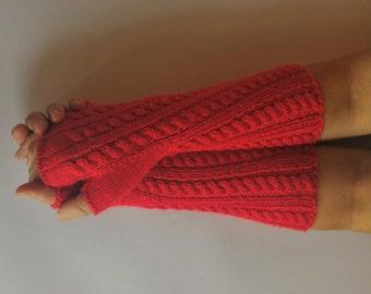 Fingerless Gloves, Wool Arm Warmers, Wool Wrist Warmers, Red Fingerless Gloves, Knitted Fingerless Mittens , Hand Knitted Arm Warmers