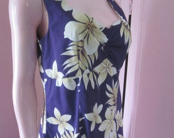 "1970s Cotton Print Sleeveless Sundress ""Made in Hawaii,"" Size M"