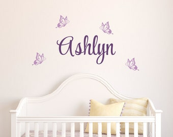 Butterfly Decals, Name Wall Decal, Butterflies Stickers, Custom Name Decal, Nursery Wall Decor, Girls Bedroom