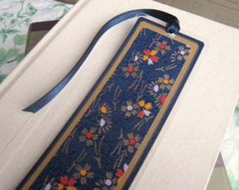 Laminated Bookmark in Dark Blue and Gold Floral Japanese Washi