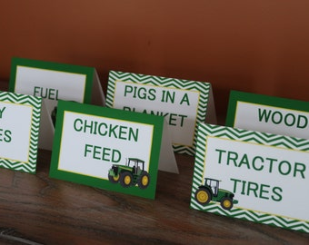 John Deere Themed - Food Tent Cards - Customizable - Tractor Theme - Sold in Lots of 6