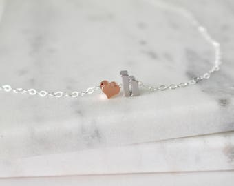 Silver Initial H Necklace, Lowercase Initial Heart Necklace, H Charm Necklace, Rose Gold Heart, Gift for her, Monogram Necklace,