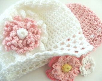 PATTERN - Fast and Easy CROCHET PATTERN Baby Cap with Flowers, Instant Download