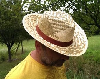 Vintage Straw Hat, Handmade Straw Hat, Gentleman Hat, Summer Hat, Farm Hat, Garden Hat, Gift Idea