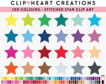 100 Stitched Stars Clipart, Commercial use, PNG,  Digital clip art, Digital images, Rainbow digital scrapbooking clip art, stars graphic