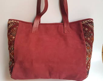 Unique Kilim Leather Tote Bag / Bundury Leather Tote Bag / Boho Style Bag / Ethnic Tote Bag / Tapestry Leather Bag