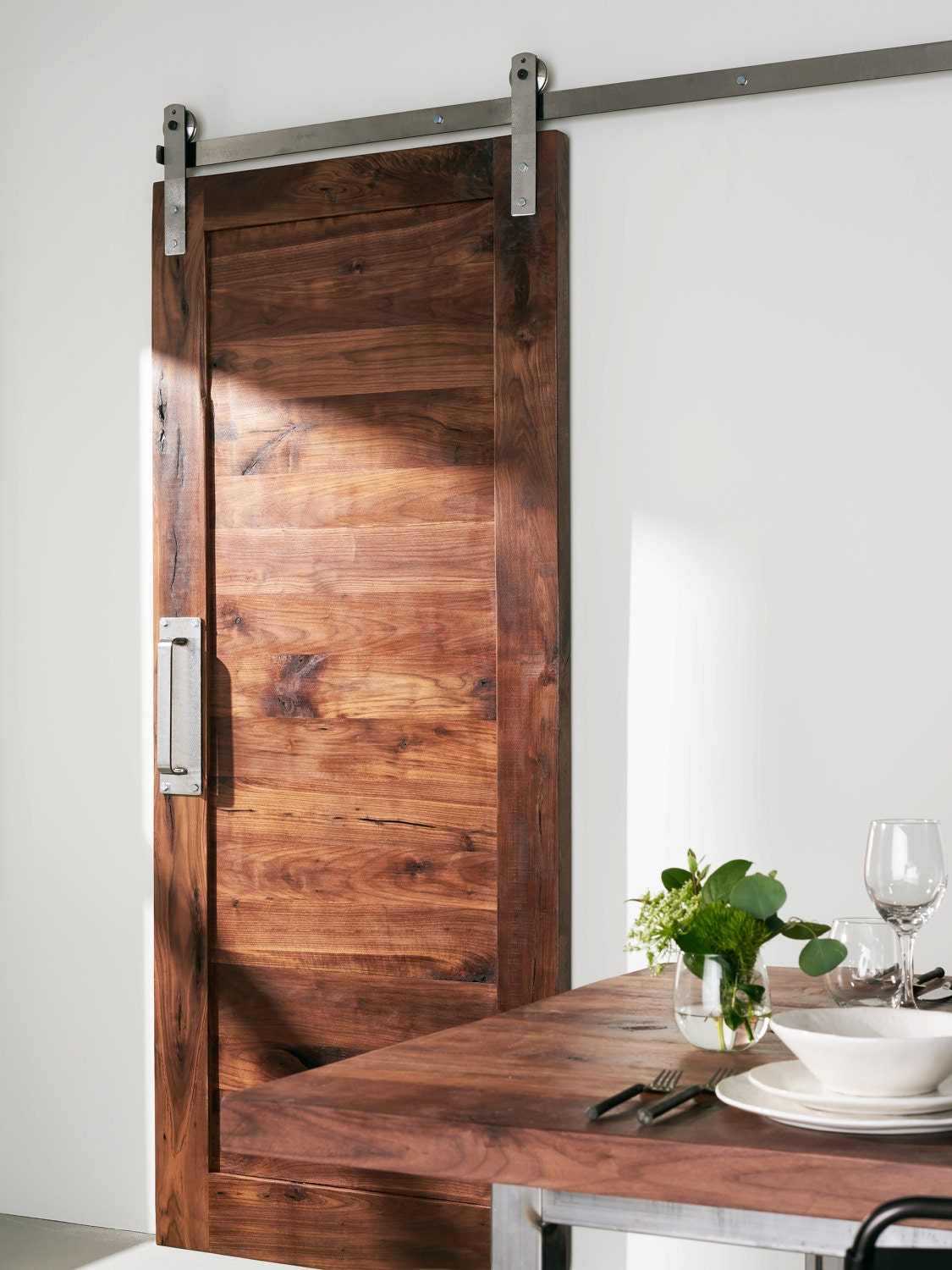 Custom built solid walnut barn door