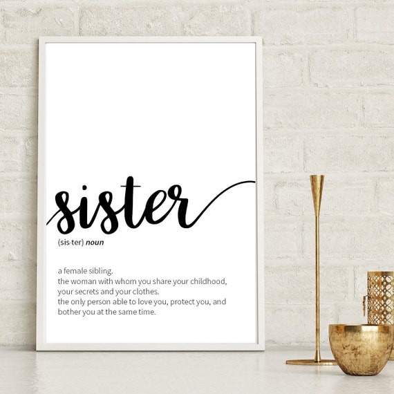 Sister Definition Siblings Gift Sister Print Dictionary