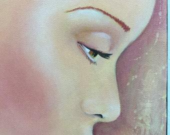 Original Mixed Media Fantasy Spiritual Girl Painting Sujati Art Studio
