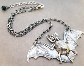 Silver Bat Necklace Gothic Vampire Jewelry Victorian Natural History Winged Goth Pendant Choker Antiqued Silver Horror Theme