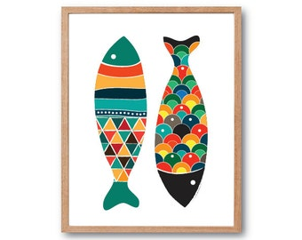 Fish Art Print, Fish Wall Art, Fish Art, Fish Print, Fish Illustration, Animal Print, Children's Book Art, Kids Art