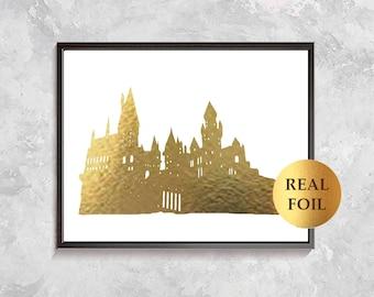 Hogwarts Castle Gold Foil, Hogwarts Harry Potter Poster, Hogwarts Art, Harry Potter Party Decor, Nursery Decor