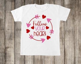 Follow Your Heart Valentine's Day Little Kids T-shirt or Baby Onesie