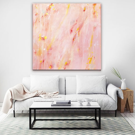 Abstract Painting Coral Peach Pink Gold Abstract Art Pastel