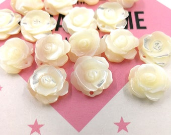 10pcs 12mm White Mother of Pearl Rose Flower Beads Carved White Shell Double Sided Flower Beads