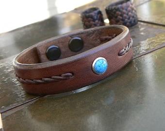 REYES Turquoise Bracelet, Bracelet cuir, tressé Boho Style amérindien, bande poignet, femmes hommes, Bracelet, bijoux Bohème