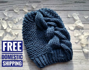 Big Braid Slouchy Knit Hat, All Natural Fiber Braided Cable Hat, Wool Slouchy Winter Hat, Navy Blue Hat, Bohemian Winter Hat, Women's Beanie