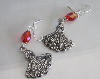 Antiqued Silver Earrings, Gypsy Earrings, Fan Dangle Earrings, Boho Jewelry, Red Crystal Dangles, Brass Metal Fan Jewelry