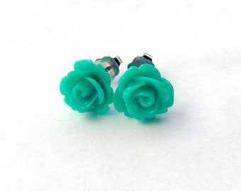 Teal rose stud earrings / resin rose / surgical steel studs / girlfriend gift / bridesmaid / gift for her / hypoallergenic earrings
