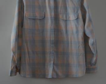 SALE!  Christian Dior blouse 80's pastel Plaid Rare!   10