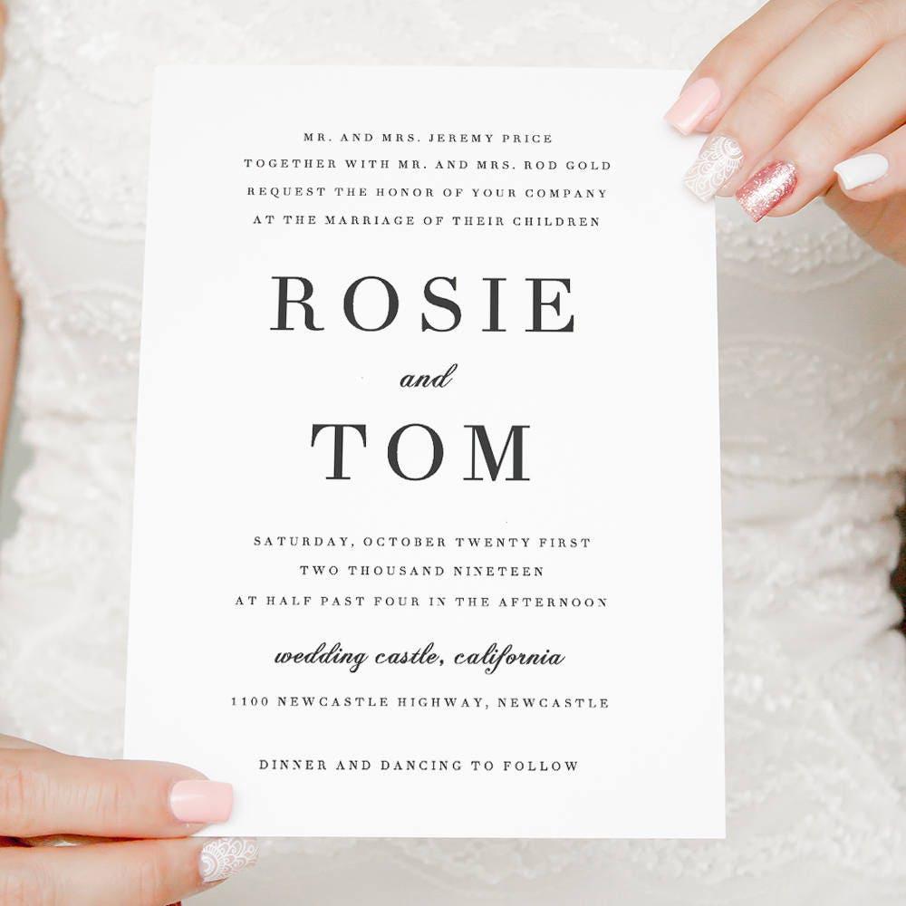 Wedding Invitations Details: Elegant Wedding Invitation, Simple And Classic Wedding