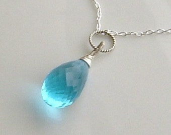 Blue Quartz Briolette Wire Wrapped on Sterling Silver