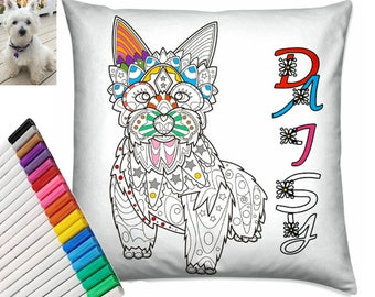 Custom Custom Colouring Cushion, Coloring Pillow, Dog Portrait, Cat Portrait, Custom Dog Cushion, Dog Pillow, Pet Cushion, Pet Owner Gift