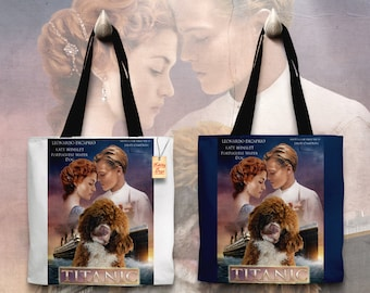 Portuguese Water Dog Art Tote Bag - Titanic Movie Poster   Perfect DOG LOVER Gift for Her Gift for Him